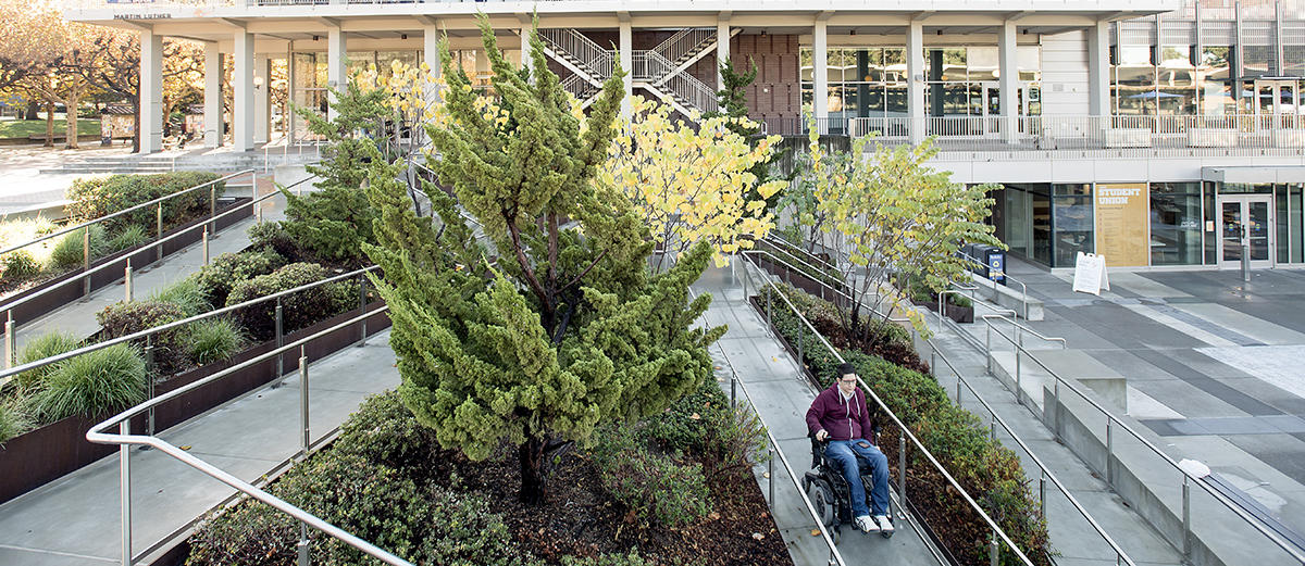 Wheelchair ramp from Lower to Upper Sproul Plaza.
